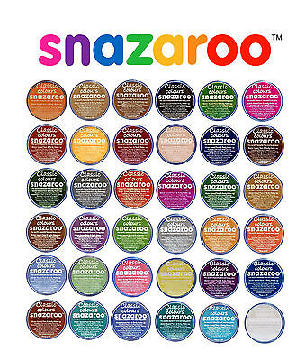 18ml SNAZAROO FACE & BODY PAINTS Stage Play Make Up Classic 47 Colours & Sparkle