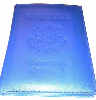 Kozmic Leather Passport Holder Blue