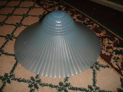 "Vintage Art Deco Style Blue Ribbed Glass Ceiling Lamp Shade-11 & 1/4"" Across"