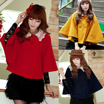 New Womens Lace Batwing Sleeve Double Breasted Collar Cloak Cape Coat Outerwear