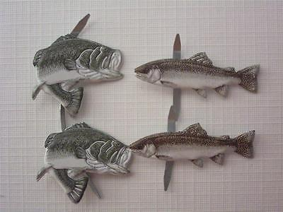 BRADS FISH mixed pk of 6 trout fishing dad man scrapbooking craft split pin
