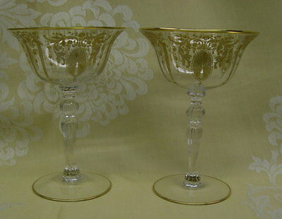 2 Cambridge Candlelight Gold Encrusted Champagne Stems