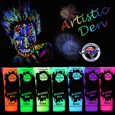 7 X UV Glow Neon Face Body Paint 60ml to 5L Fluoro Party Glow Set Artistic Den®
