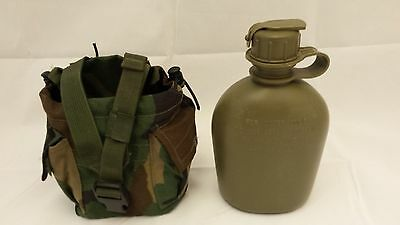 US MILITARY 1 QT OD CANTEEN and WOODLAND MOLLE II POUCH ~GENTLY~USED~