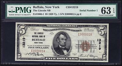 Serial #1 Buffalo, NY $5 1929 Fr 1800-1 Lincoln NB PMG Choice Unc 63 EPQ