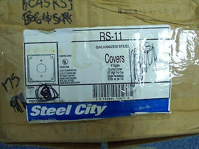 """*Lot Of 45* Thomas & Betts Steel City 4"""" Square Galvanized Steel Covers Rs-11"""