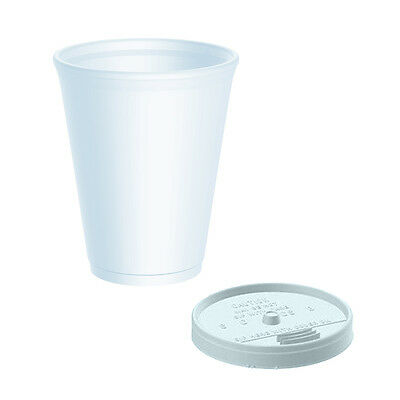 7oz Insulated Polystyrene Cups x 100 Sip Through Lids - Just £7.00 Ex VAT