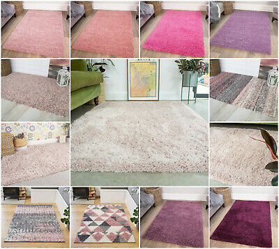 Thick Soft Plain Shaggy Rugs Small Large XL Cheap Shag Pile Mats Best Pink Rugs