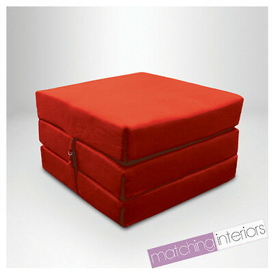 Red 100% Cotton Fold Out Single Z Bed Cube Guest Futon Chair Bed Budget Studio