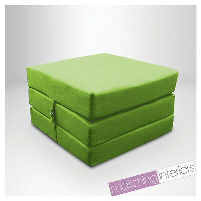 Lime 100% Cotton Fold Out Single Z Bed Cube Guest Futon Chair Bed Budget Studio