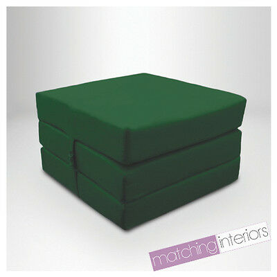 Green 100% Cotton Fold Out Single Z Bed Cube Guest Futon Chair Bed Budget Studio