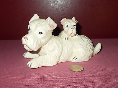 Vintage Ceramic White Terrier DOG FIGURINE Mother and Puppy