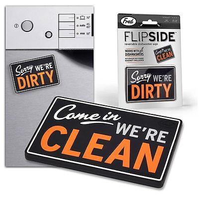 Fred & Friends Flip Side Reversible Dishwasher Magnet Clean Dirty Dishes Kitchen