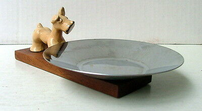 METAL SCOTTIE DOG ON WOOD STAND WITH SILVER COLOR DISH TRAY CONDIMENT PAN