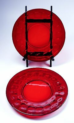 """Two Vintage Ruby Red Glass Salad Dessert Plates 8"""" Diameter - Minty!"""