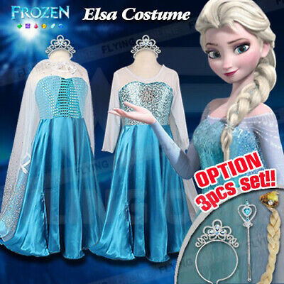 Girls Frozen Queen Elsa Costume Party Birthday Dress + Cape + Crown Size 3-10Yrs