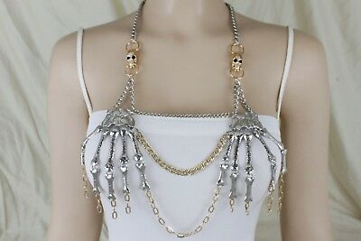 New women black silver chains frontal metal body jewerly coins long necklace