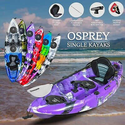 2.7M Fishing Kayak Single 2017 Sit-on Seat Paddle Brisbane Adult Purple Package
