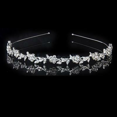 Bridal Bridesmaid Wedding Tiara Crystal Flower & Leaves Headband Crown Headpiece