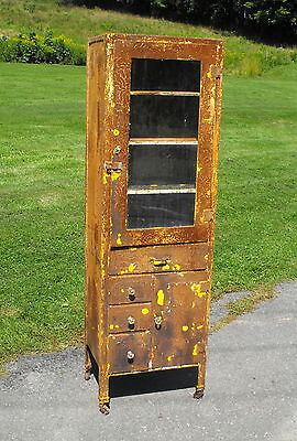 Old Antique Vtg Medicine Hospital Veterinary Cabinet Vtg Metal Original Display