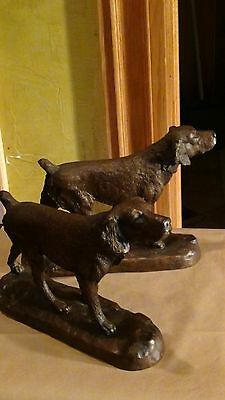 Pair  Bronze Pointer Dog Sculpture,bookends Signed  Ken Jacobsen A.p.