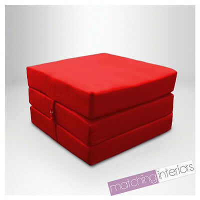Red Splashproof Wipe Clean Fold Out Cube Mattress Guest Z Bed Chair Bed Futon