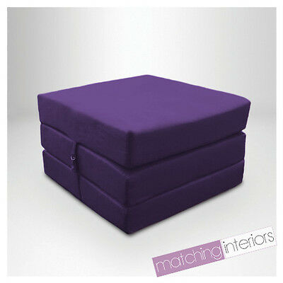 Purple Splashproof Wipe Clean Fold Out Cube Mattress Guest Z Bed Chair Bed Futon