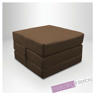 Brown Splashproof Wipe Clean Fold Out Cube Mattress Guest Z Bed Chair Bed Futon