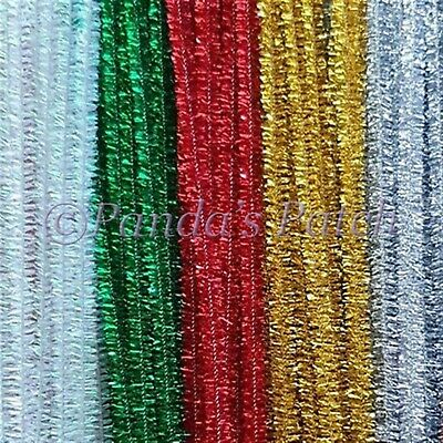"Tinsel Glitter Craft Stems Pipe Cleaners 12"" 30cm Choose Colour, Pack Size"