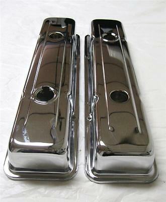 Small Block Chevy Chrome Steel Valve Covers Short 283 305 350 V8 Sbc Closeout