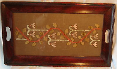 Vtg Wood Frame Serving TRAY w Mayan/Latin Style Embroidered TEXTILE Under Glass