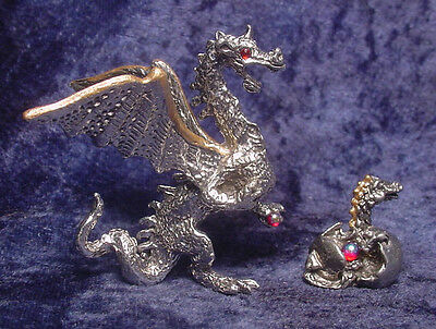 Pewter Mother & Baby DRAGONS