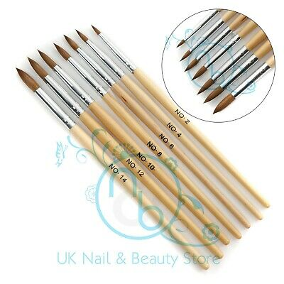 Professional Round Sable Acrylic Nail Art Brush Various Size 2 4 6 8 10 12 14 UK