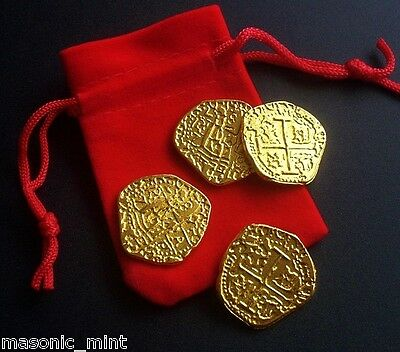 NOVELTY SPANISH DOUBLOON COINS x4 + VELVET GIFT POUCH, PIRATE TREASURE/GOLD TONE