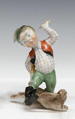 Herend Hand-Painted Hunter Boy With a Rabbit Figurine From Hungary #5840