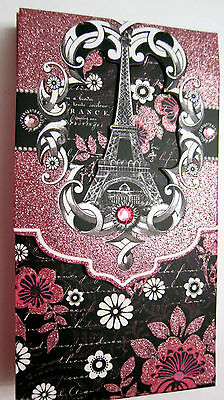 Punch Studio PINK & BLACK EIFFEL TOWER PARIS Jeweled Glitter NOTE PAD. GORGEOUS!