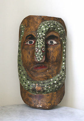 Rare antique MEXICO tribal procession mask w/snake motif, Voodoo cult