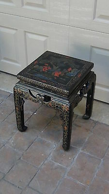 Antique 19C Chinese Square Gilt Black Lacquered Plant Stand ,polichrome Painted