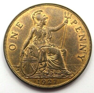 1927 George V One Penny 1-D Coin High Grade