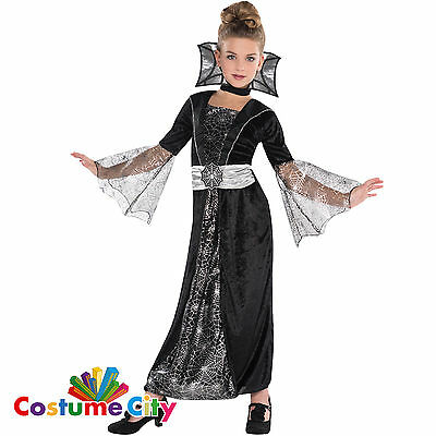 Kids Girls Vampire Spider Queen Fancy Dress Halloween Party Costume - Age 4-10