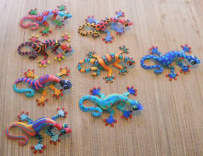 """LARGE HAND PAINTED SET OF 8 WALL HANGING GECKOS EACH GECKO IS 13"""" WIDE"""