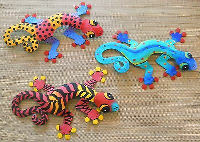 """LARGE HAND PAINTED SET OF 3 WALL HANGING GECKOS 13""""WIDE EACH GECKO"""