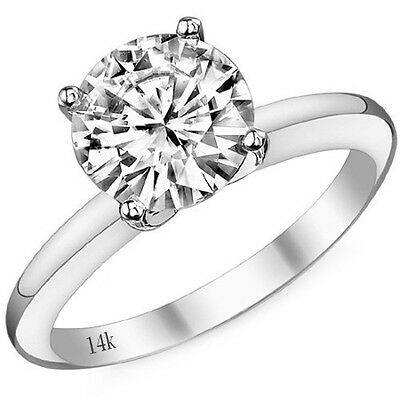 0.50CT 14k White Gold Round Cut Moissanite 4 Prong Solitaire Engagement Ring