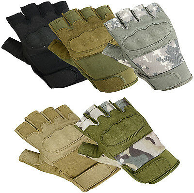 Military Airsoft 1/2 HALF Finger Tactical Hard Knuckle Fingerless Shooting Glove