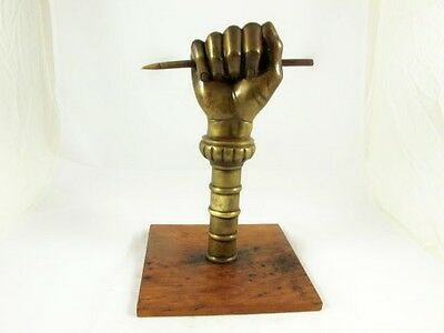 French Bronze Clenched Fist Holding A Pen, Designed To Mount On Pole, C1870