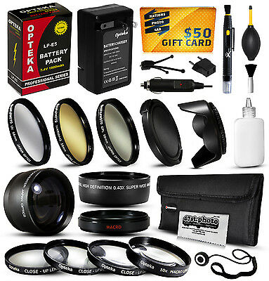 Battery Charger Accessories 58mm Filters for Canon EOS Rebel T1i Kiss F X2 X3