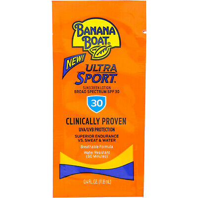 Banana Boat Sport Sunscreen, SPF 30 Protection lotion, Travel Packets 12 packs