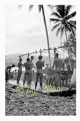 VINTAGE 1940's PHOTO NUDE SOLDIERS SHOWER ON VANUATU ISLAND WWII GAY INTEREST 14