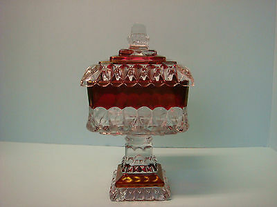 Westmoreland Large Wedding Bowl Ruby Red with Clear Crystal 1950's