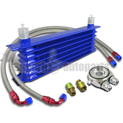 """7-Row Engine Oil-Cooler+M20 Sandwich Adapter Silver+2PC 48"""" S/S Braided Hoses"""